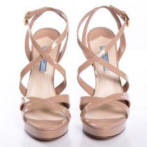 Brand New Prada Leather Cross Strap Sandals